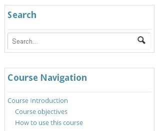 Course navigation - There's a complete topic list on the Course Home page