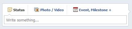 Facebook Page status box