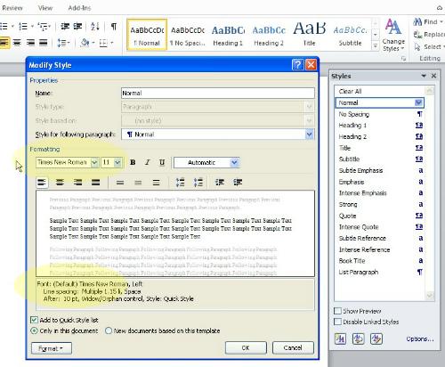 MS Office 2010 - Change Default Font
