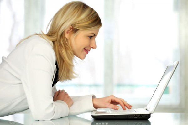 Woman learning at a PC