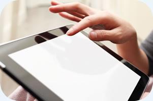 iPad and hand