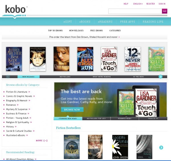 Kobobooks home screen