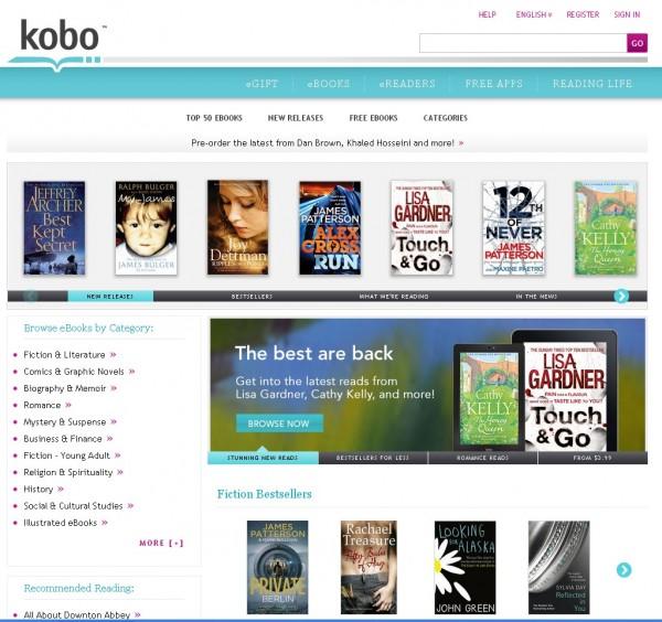 Kobobooks home screen
