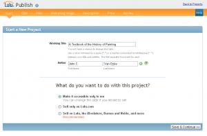 Lulu - opening screen - start an ebook project