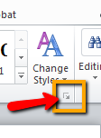 Word set-up - Styles button