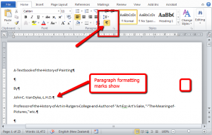 Word-set-up - Show all formatting